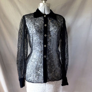 Vintage 90s YSL Sheer Black Chantilly Lace Blouse